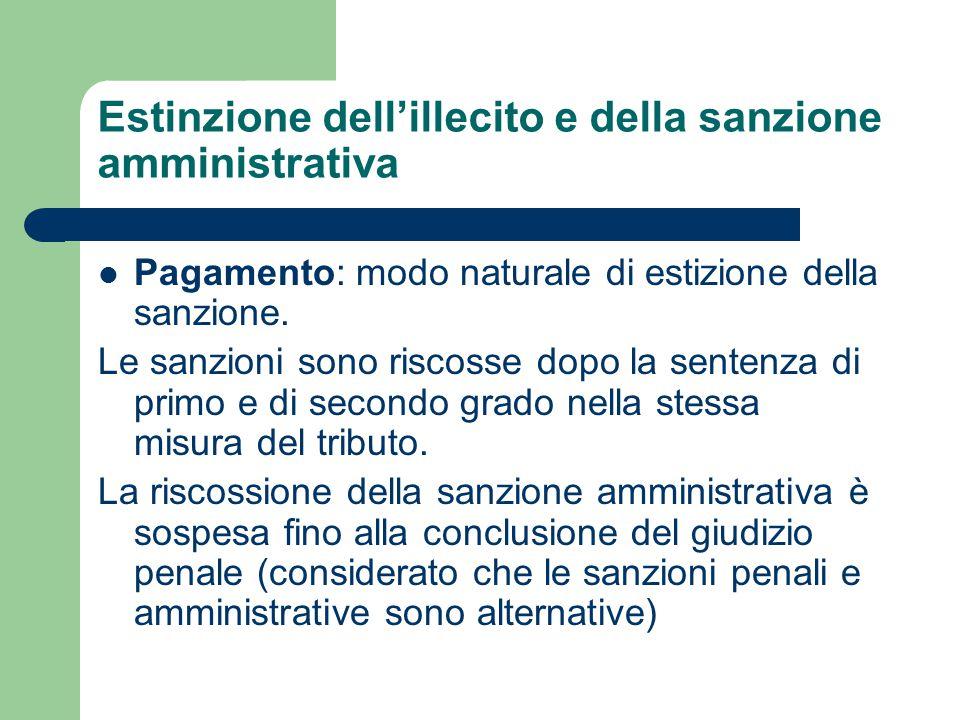Estinzione dell'illecito e della sanzione amministrativa Pagamento: modo naturale di estizione della sanzione. Le sanzioni sono riscosse dopo la sente