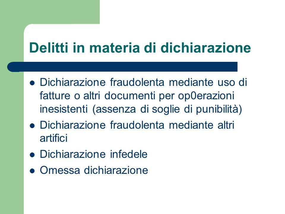 Delitti in materia di dichiarazione Dichiarazione fraudolenta mediante uso di fatture o altri documenti per op0erazioni inesistenti (assenza di soglie