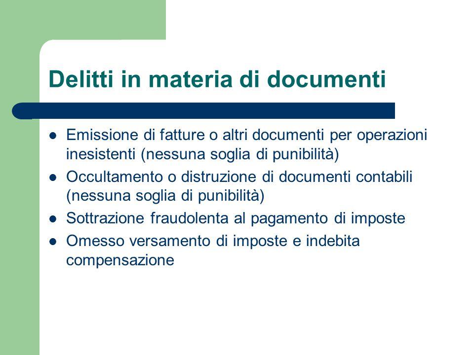 Delitti in materia di documenti Emissione di fatture o altri documenti per operazioni inesistenti (nessuna soglia di punibilità) Occultamento o distru