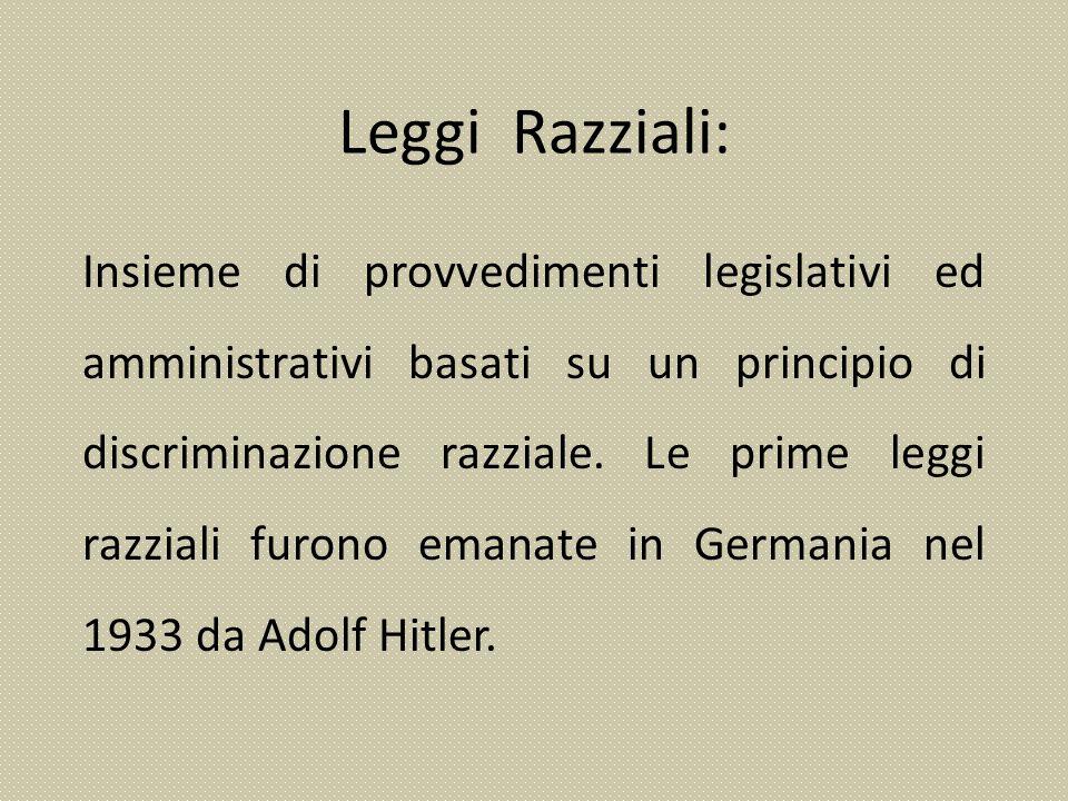 Leggi Razziali: Insieme di provvedimenti legislativi ed amministrativi basati su un principio di discriminazione razziale.