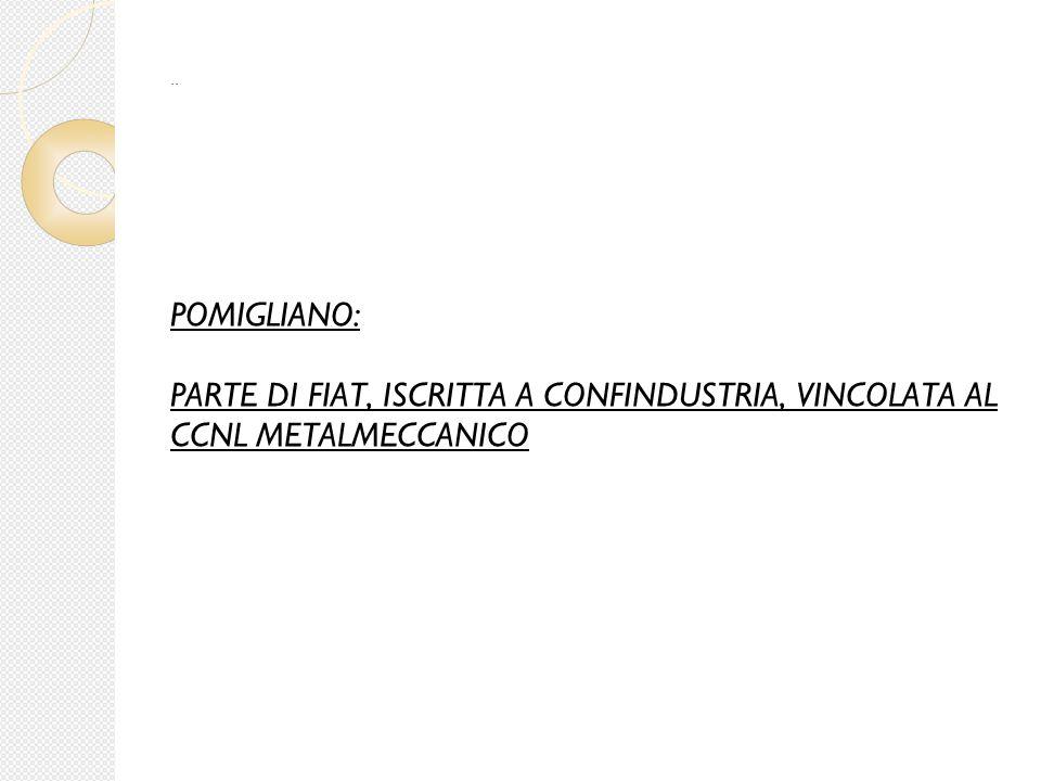 POMIGLIANO: PARTE DI FIAT, ISCRITTA A CONFINDUSTRIA, VINCOLATA AL CCNL METALMECCANICO..