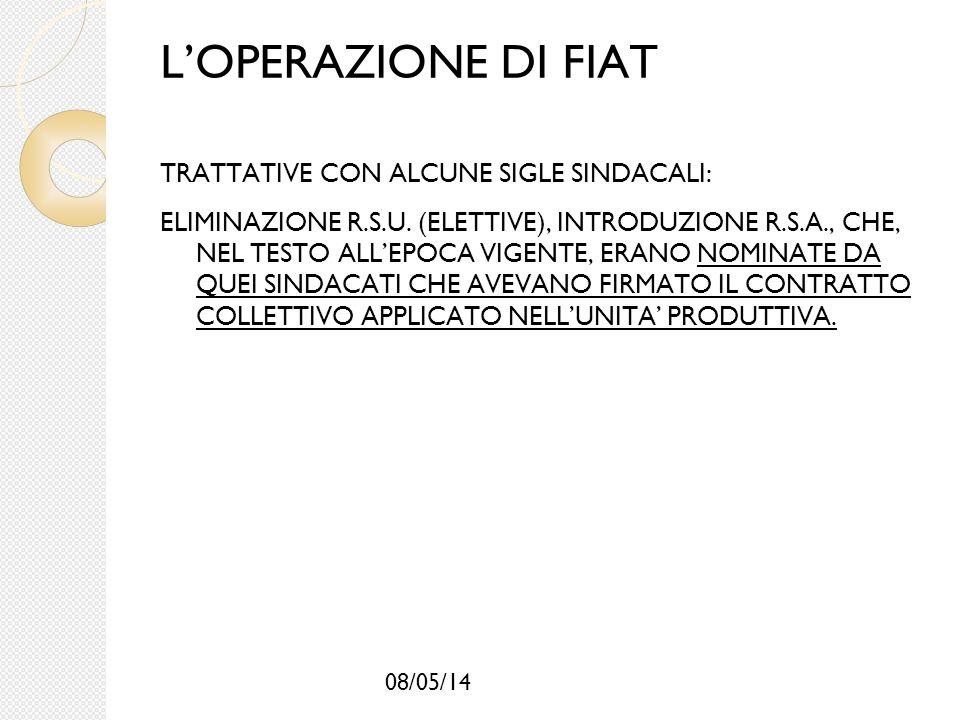 08/05/14 L'OPERAZIONE DI FIAT TRATTATIVE CON ALCUNE SIGLE SINDACALI: ELIMINAZIONE R.S.U. (ELETTIVE), INTRODUZIONE R.S.A., CHE, NEL TESTO ALL'EPOCA VIG