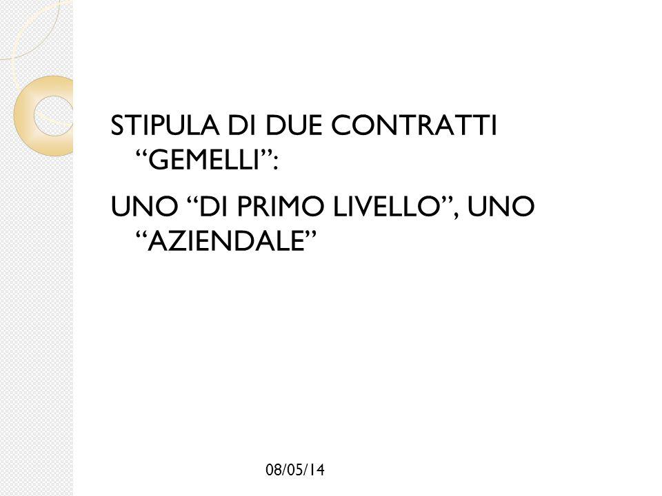 """08/05/14 STIPULA DI DUE CONTRATTI """"GEMELLI"""": UNO """"DI PRIMO LIVELLO"""", UNO """"AZIENDALE"""""""