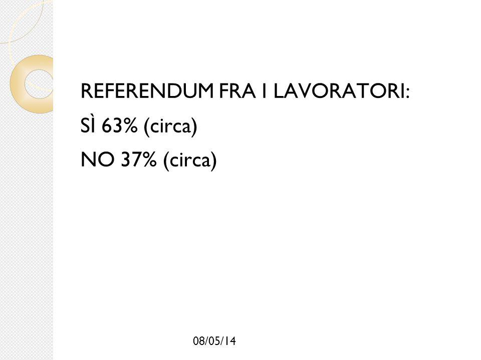 08/05/14 REFERENDUM FRA I LAVORATORI: SÌ 63% (circa) NO 37% (circa)