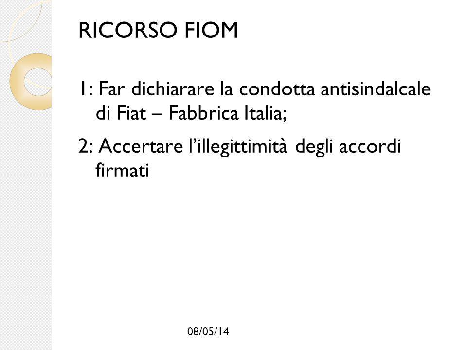 08/05/14 RICORSO FIOM 1: Far dichiarare la condotta antisindalcale di Fiat – Fabbrica Italia; 2: Accertare l'illegittimità degli accordi firmati