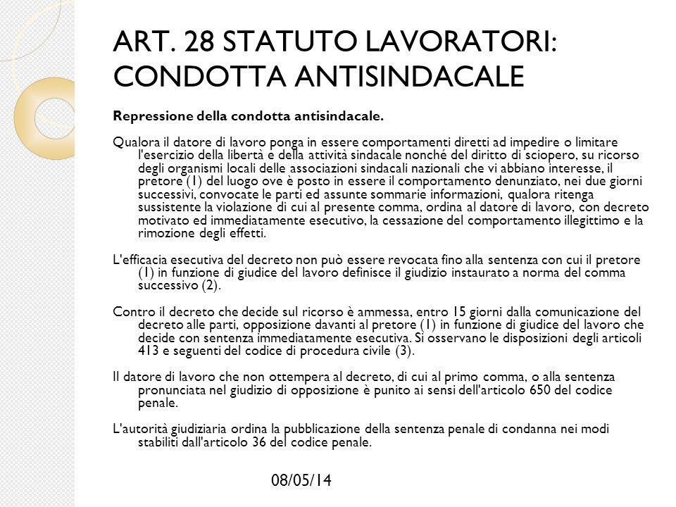 08/05/14 ART. 28 STATUTO LAVORATORI: CONDOTTA ANTISINDACALE Repressione della condotta antisindacale. Qualora il datore di lavoro ponga in essere comp