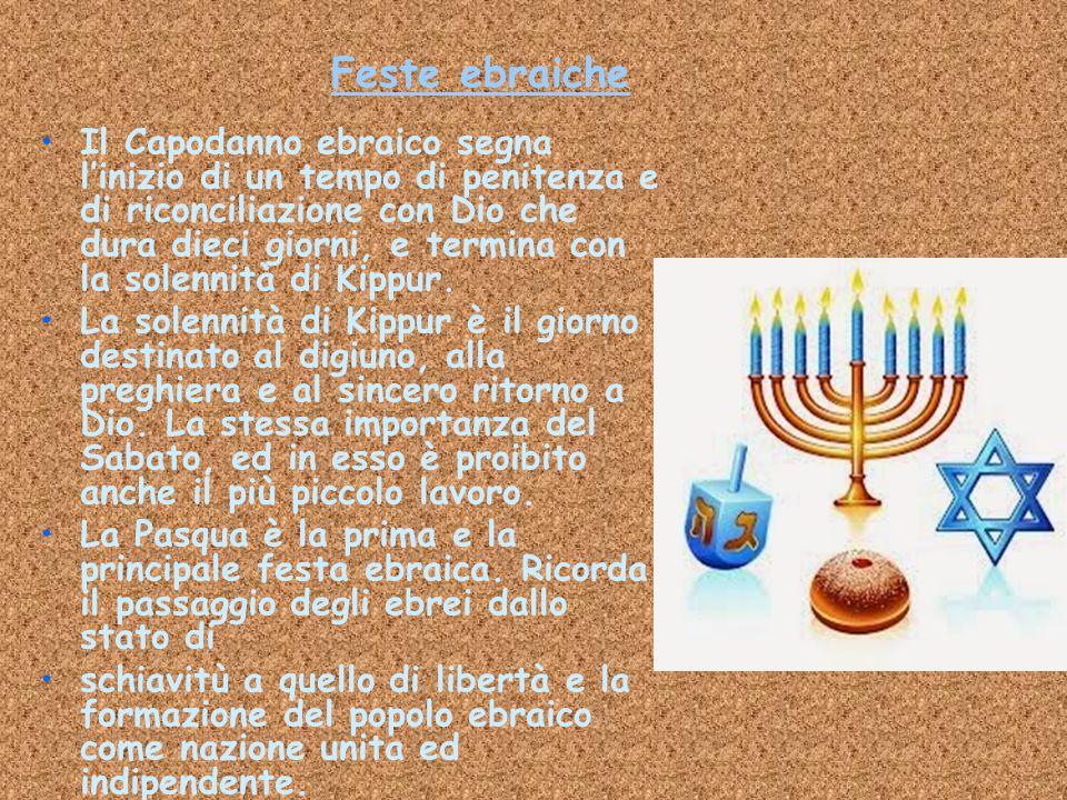 Feste ebraiche Il Capodanno ebraico segna l'inizio di un tempo di penitenza e di riconciliazione con Dio che dura dieci giorni, e termina con la solen
