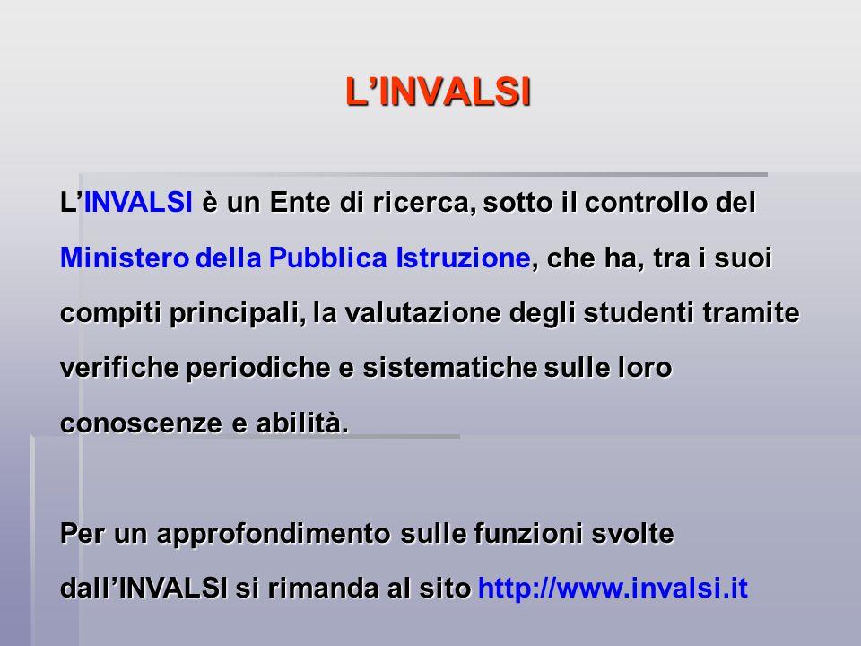 L'INVALSI La valutazione dell'INVALSI è rivolta agli studenti e di conseguenza agli insegnanti dell'Istituto scolastico.