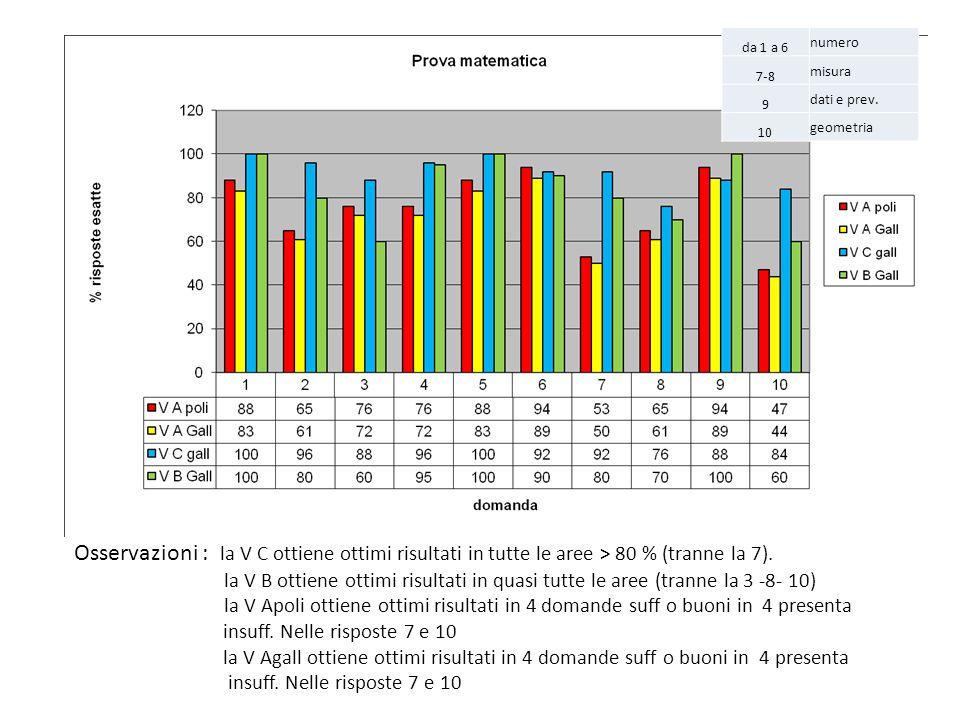 da 1 a 6 numero 7-8 misura 9 dati e prev. 10 geometria Osservazioni : la V C ottiene ottimi risultati in tutte le aree > 80 % (tranne la 7). la V B ot