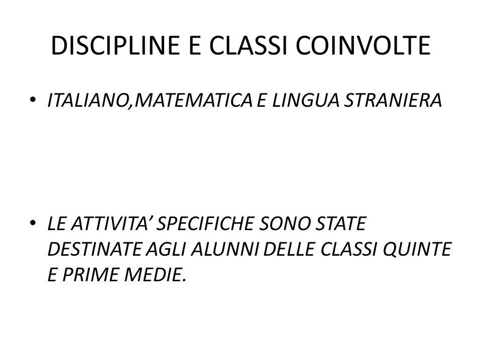 DISCIPLINE E CLASSI COINVOLTE ITALIANO,MATEMATICA E LINGUA STRANIERA LE ATTIVITA' SPECIFICHE SONO STATE DESTINATE AGLI ALUNNI DELLE CLASSI QUINTE E PR
