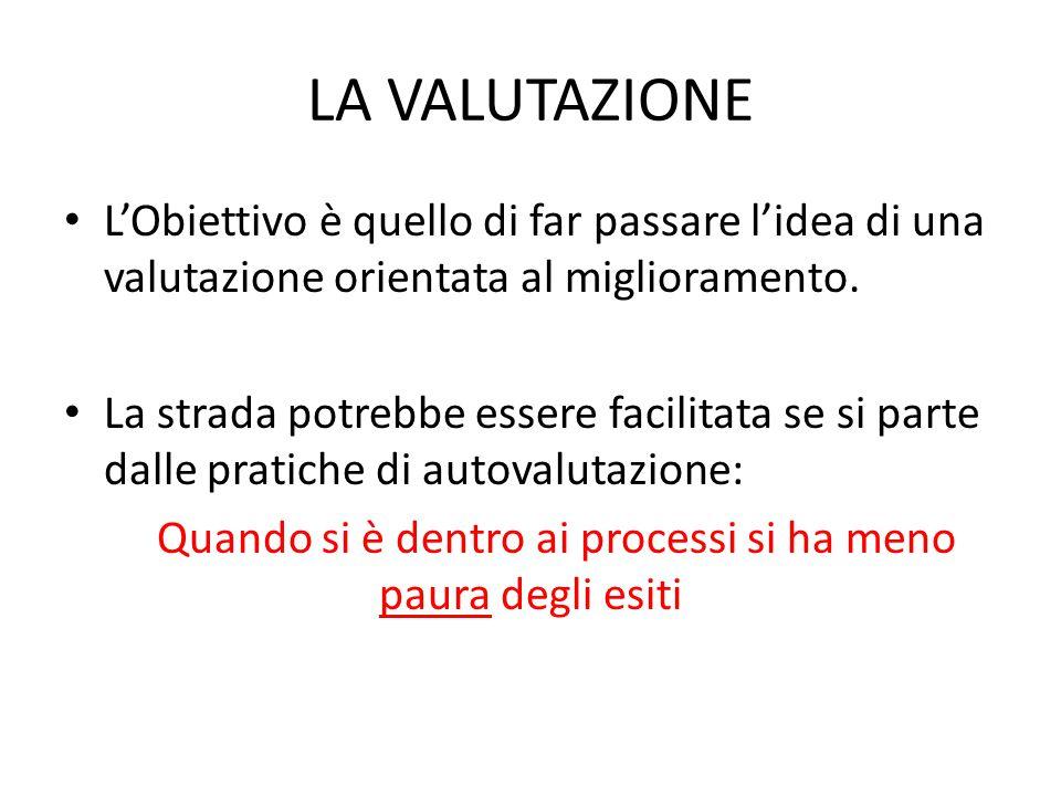LA VALUTAZIONE L'Obiettivo è quello di far passare l'idea di una valutazione orientata al miglioramento. La strada potrebbe essere facilitata se si pa