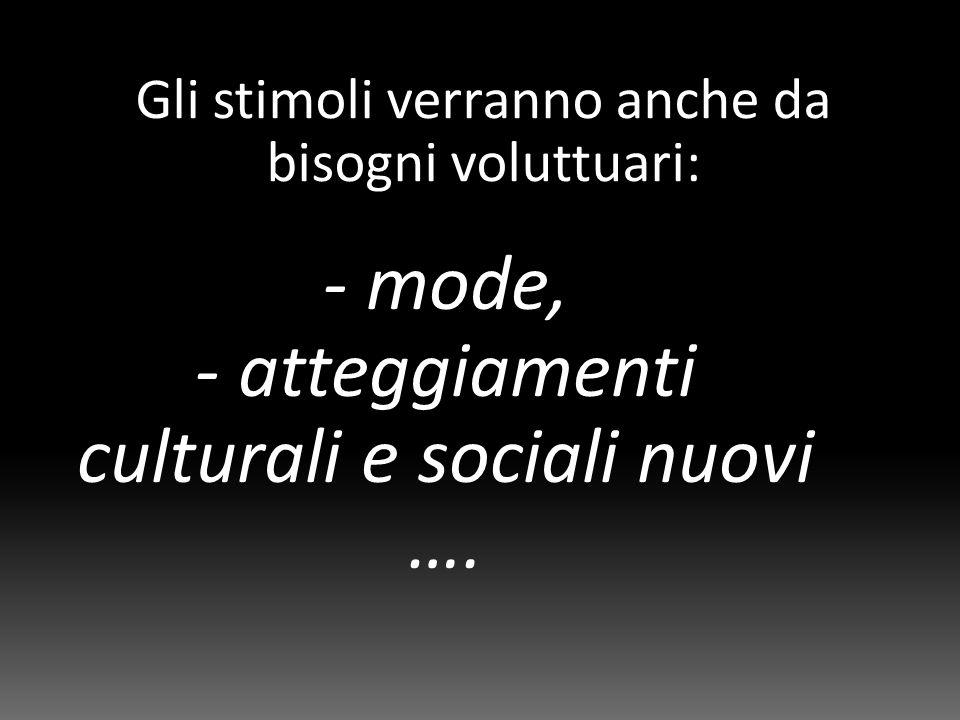 Gli stimoli verranno anche da bisogni voluttuari: - mode, - atteggiamenti culturali e sociali nuovi ….