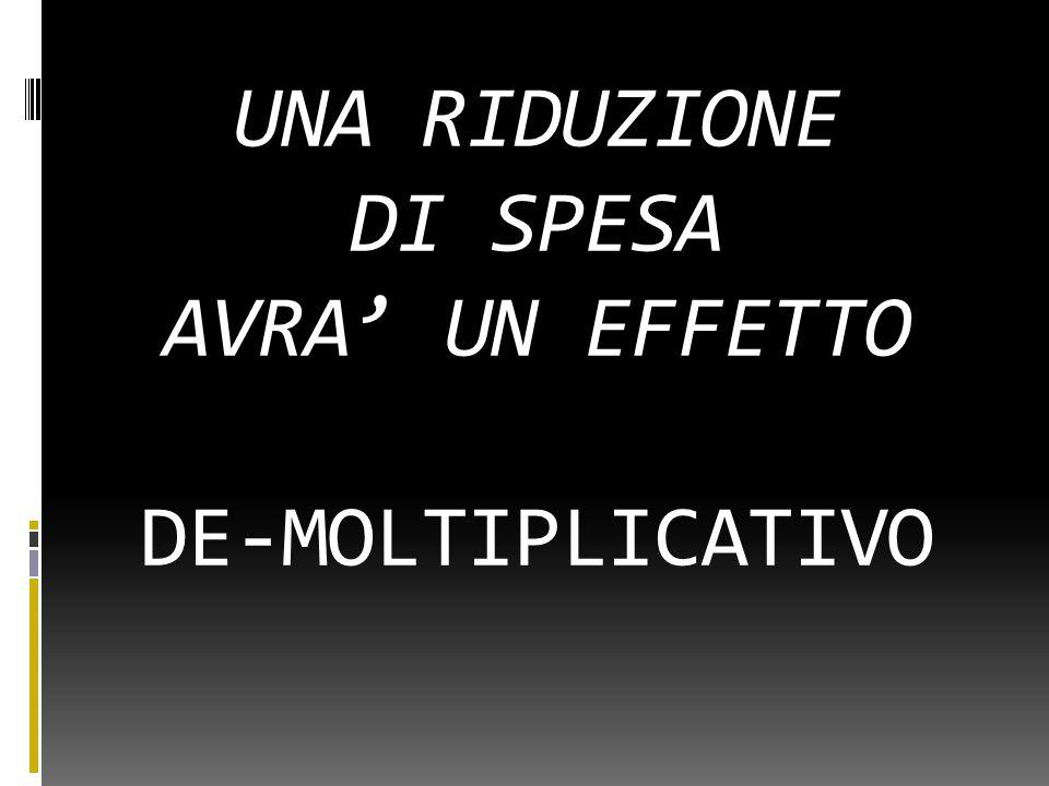 UNA RIDUZIONE DI SPESA AVRA' UN EFFETTO DE-MOLTIPLICATIVO