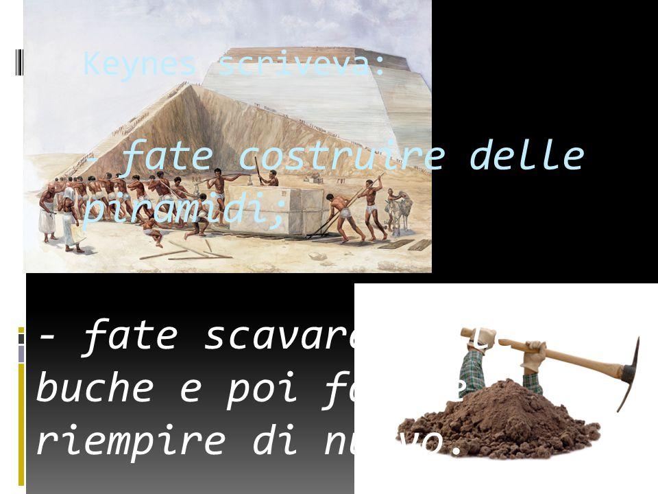 Keynes scriveva: - fate costruire delle piramidi; - fate scavare delle buche e poi fatele riempire di nuovo.