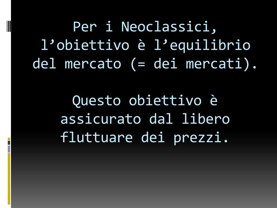 Per i Neoclassici, l'obiettivo è l'equilibrio del mercato (= dei mercati).