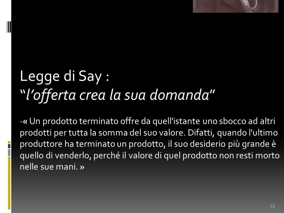 Legge di Say : l'offerta crea la sua domanda - « Un prodotto terminato offre da quell istante uno sbocco ad altri prodotti per tutta la somma del suo valore.