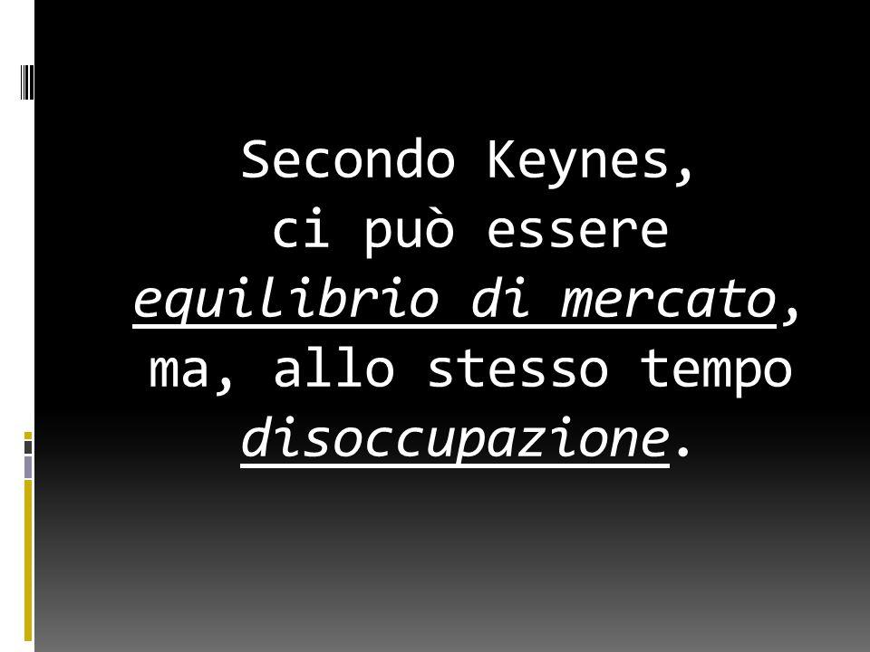 Secondo Keynes, ci può essere equilibrio di mercato, ma, allo stesso tempo disoccupazione.