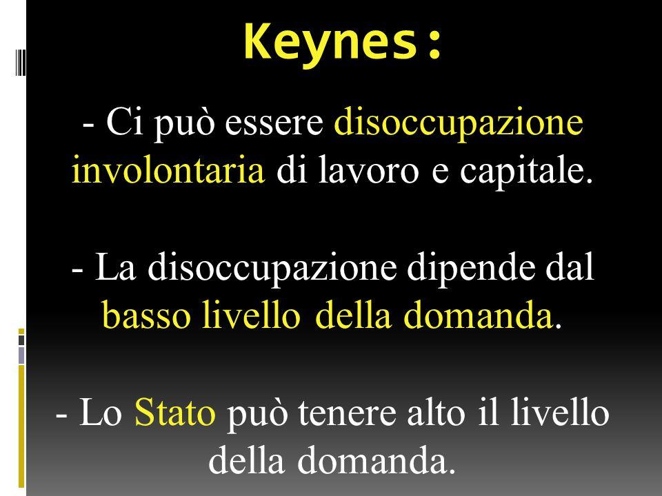 Keynes: - Ci può essere disoccupazione involontaria di lavoro e capitale.