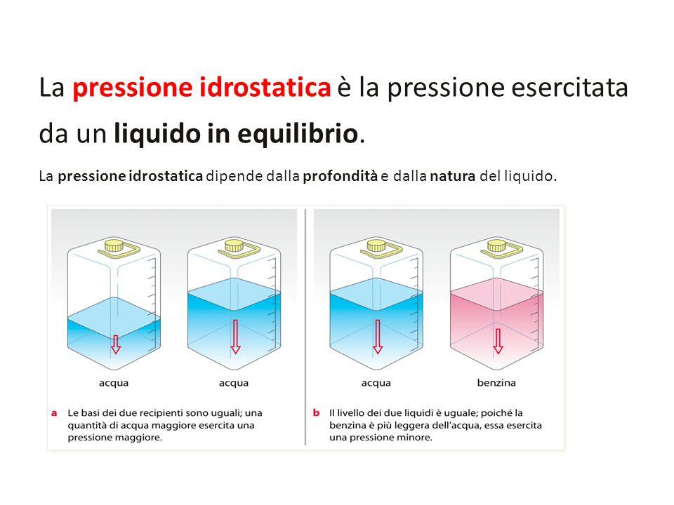 La pressione idrostatica è la pressione esercitata da un liquido in equilibrio. La pressione idrostatica dipende dalla profondità e dalla natura del l