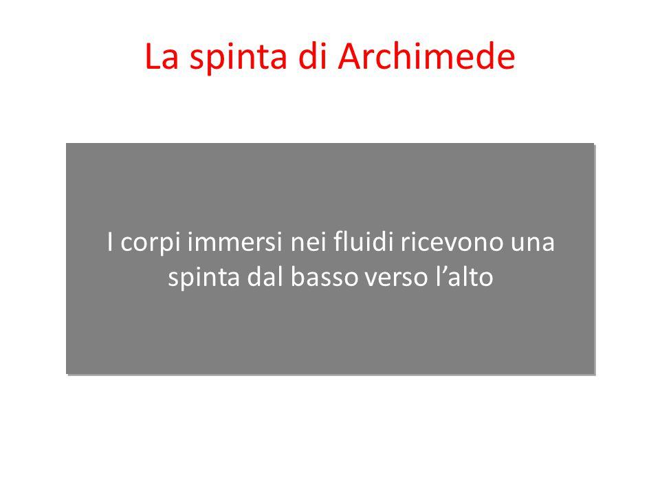 I corpi immersi nei fluidi ricevono una spinta dal basso verso l'alto La spinta di Archimede