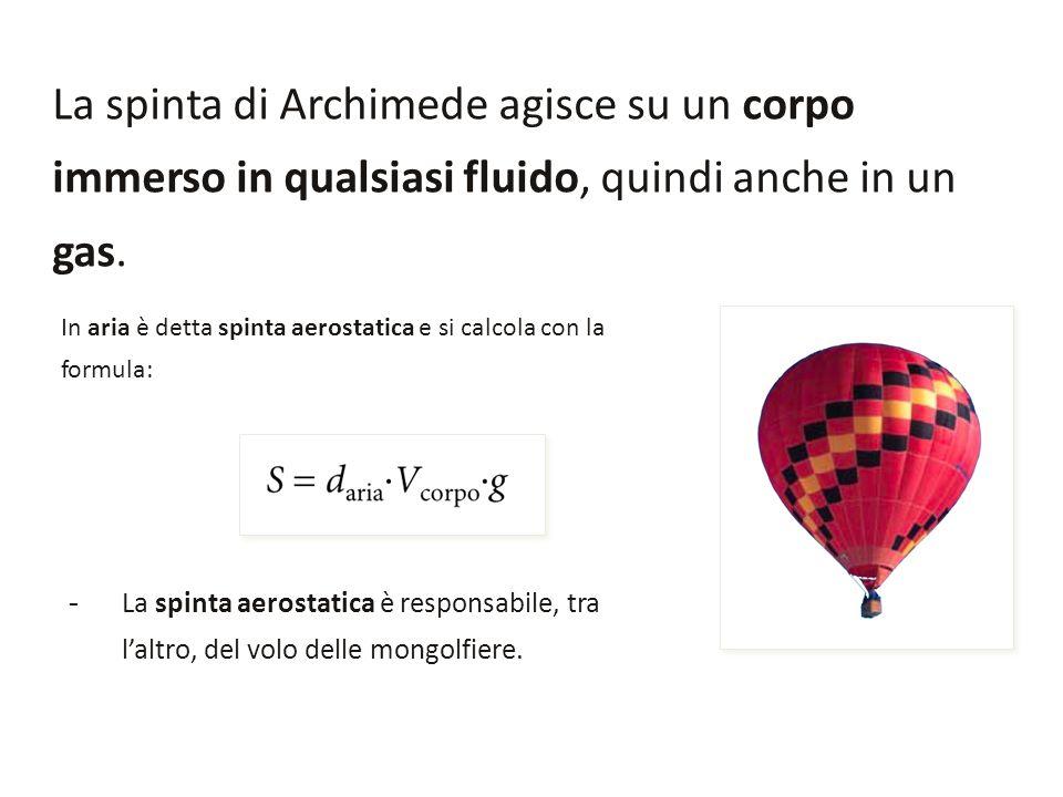 La spinta di Archimede agisce su un corpo immerso in qualsiasi fluido, quindi anche in un gas. In aria è detta spinta aerostatica e si calcola con la