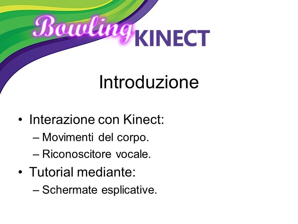 Introduzione Interazione con Kinect: –Movimenti del corpo. –Riconoscitore vocale. Tutorial mediante: –Schermate esplicative.
