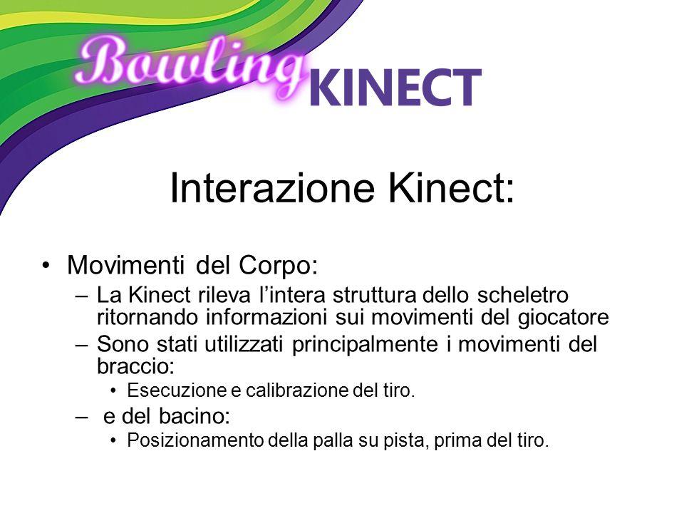 Interazione Kinect: Movimenti del Corpo: –La Kinect rileva l'intera struttura dello scheletro ritornando informazioni sui movimenti del giocatore –Son