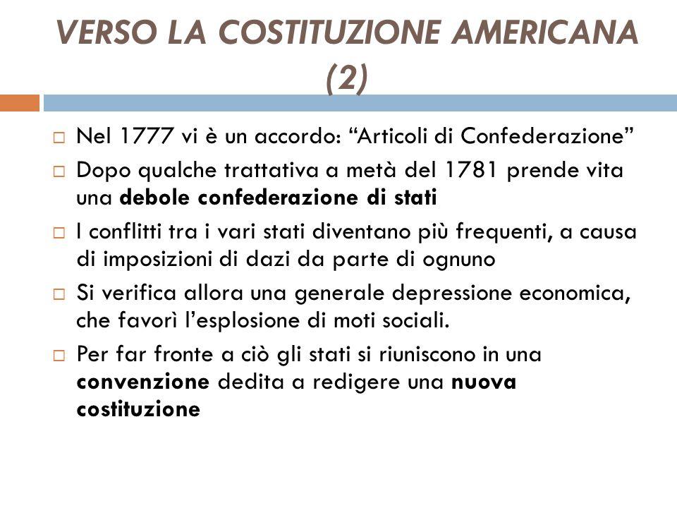 VERSO LA COSTITUZIONE AMERICANA (1)  Dopo la dichiarazione di indipendenza vi è la decisione riguardo a che tipologia di governo assumere da parte de