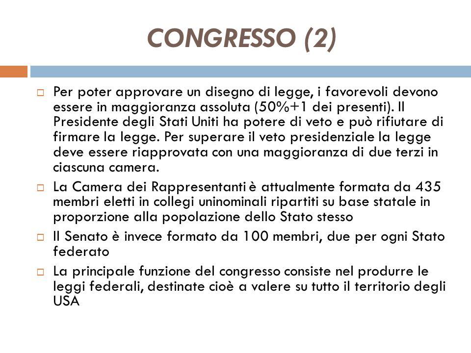 CONGRESSO (1) l'istituzione di un Parlamento bicamerale in cui una Camera - la Camera dei Rappresentanti - fosse rappresentativa del popolo (e quindi