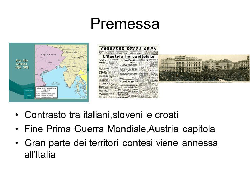 Premessa Contrasto tra italiani,sloveni e croati Fine Prima Guerra Mondiale,Austria capitola Gran parte dei territori contesi viene annessa all'Italia