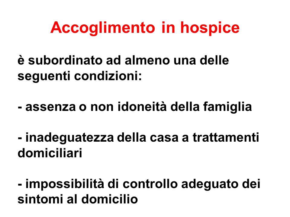 Accoglimento in hospice è subordinato ad almeno una delle seguenti condizioni: - assenza o non idoneità della famiglia - inadeguatezza della casa a tr