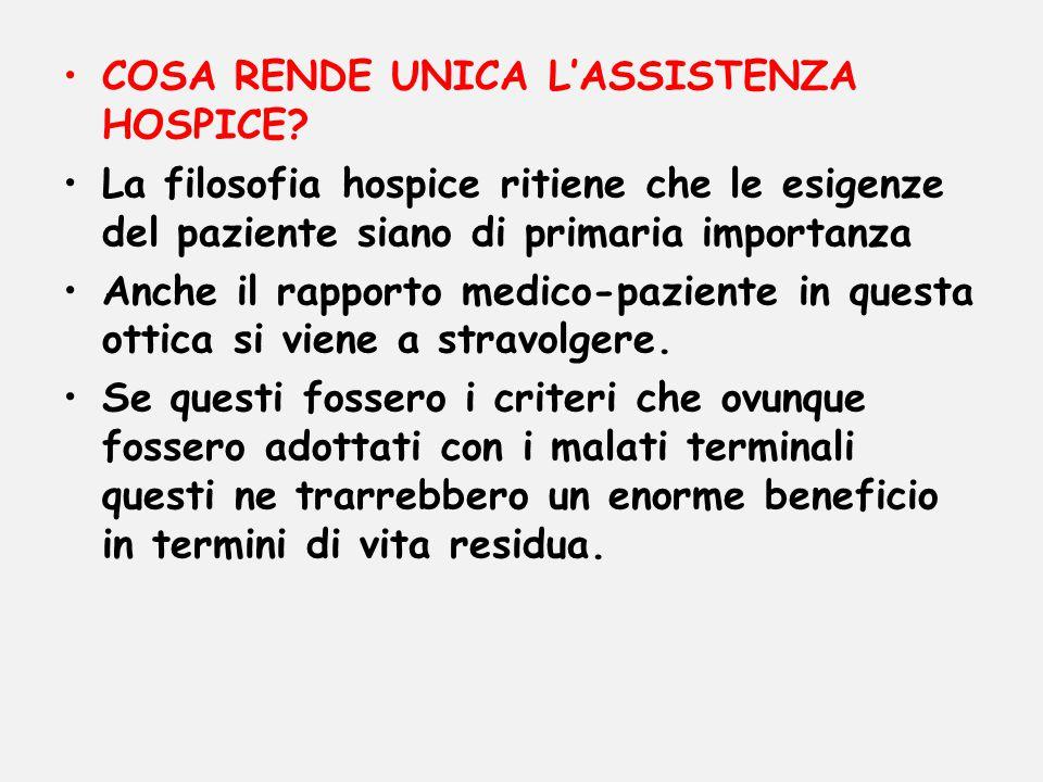COSA RENDE UNICA L'ASSISTENZA HOSPICE? La filosofia hospice ritiene che le esigenze del paziente siano di primaria importanza Anche il rapporto medico