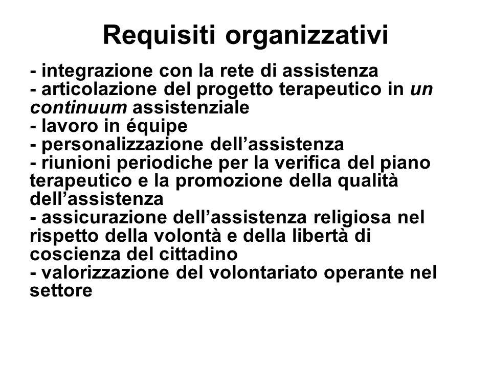 Requisiti organizzativi - integrazione con la rete di assistenza - articolazione del progetto terapeutico in un continuum assistenziale - lavoro in éq