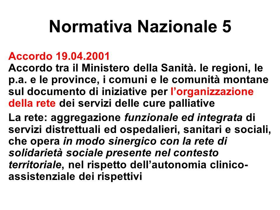 Normativa Nazionale 5 Accordo 19.04.2001 Accordo tra il Ministero della Sanità. le regioni, le p.a. e le province, i comuni e le comunità montane sul