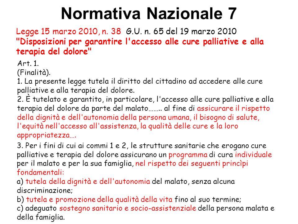 Normativa Nazionale 7 Legge 15 marzo 2010, n. 38 G.U. n. 65 del 19 marzo 2010
