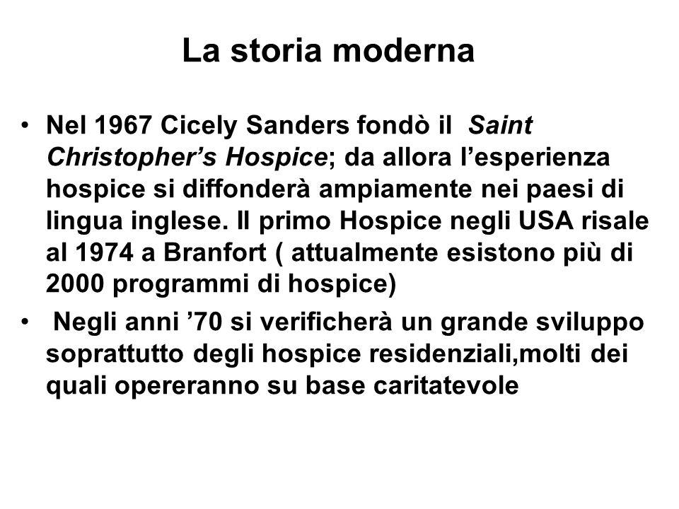 La storia moderna Nel 1967 Cicely Sanders fondò il Saint Christopher's Hospice; da allora l'esperienza hospice si diffonderà ampiamente nei paesi di l
