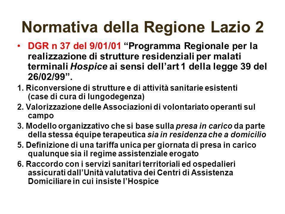 """Normativa della Regione Lazio 2 DGR n 37 del 9/01/01 """"Programma Regionale per la realizzazione di strutture residenziali per malati terminali Hospice"""