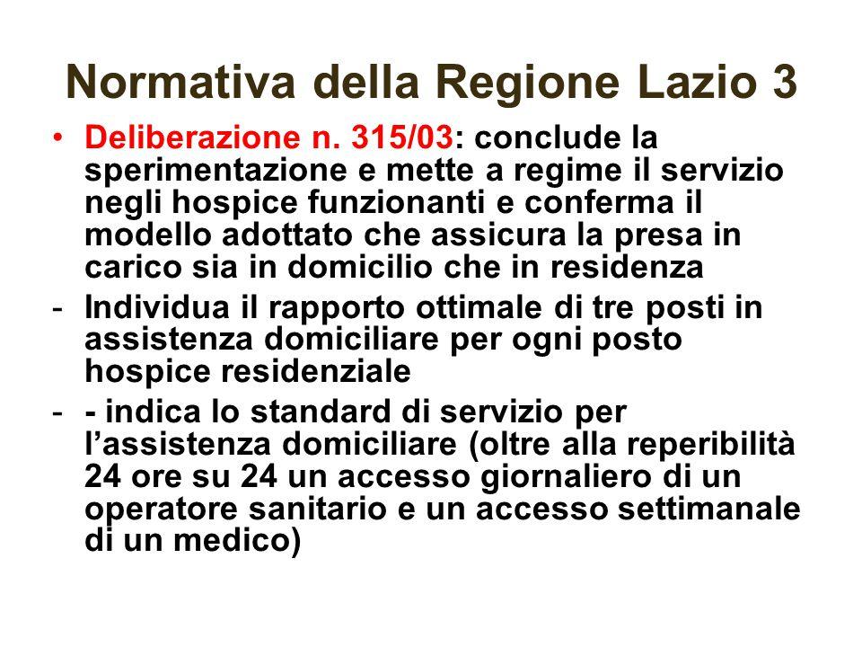 Normativa della Regione Lazio 3 Deliberazione n. 315/03: conclude la sperimentazione e mette a regime il servizio negli hospice funzionanti e conferma