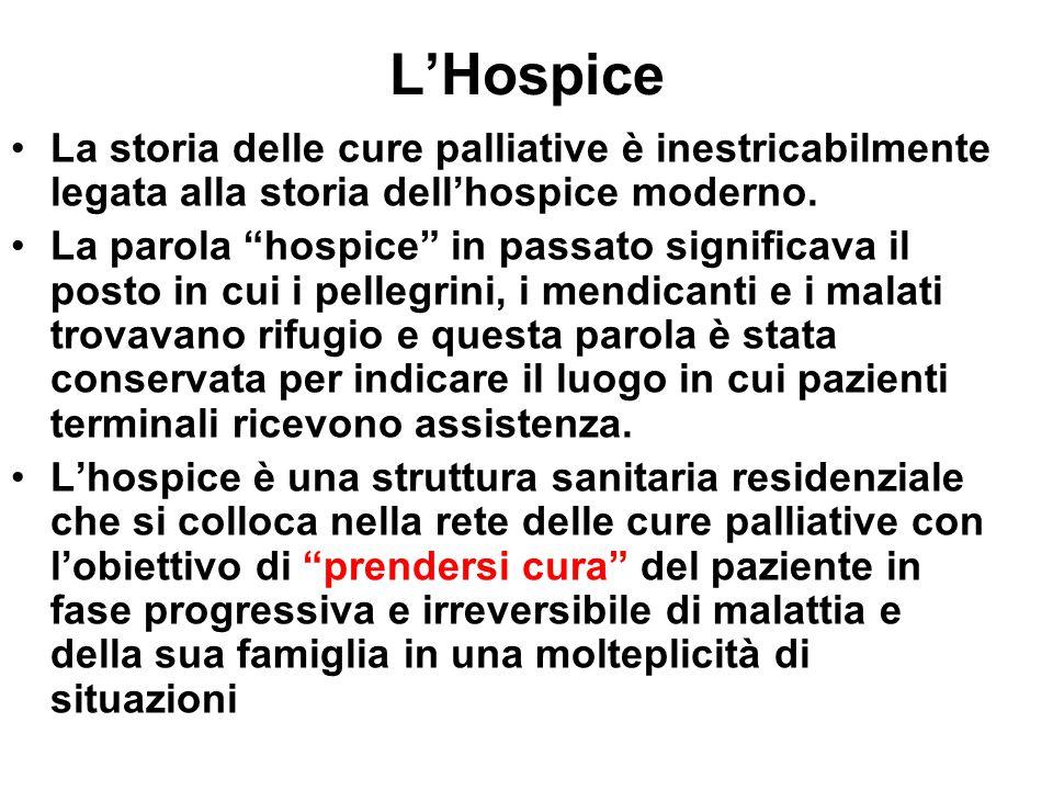 """L'Hospice La storia delle cure palliative è inestricabilmente legata alla storia dell'hospice moderno. La parola """"hospice"""" in passato significava il p"""