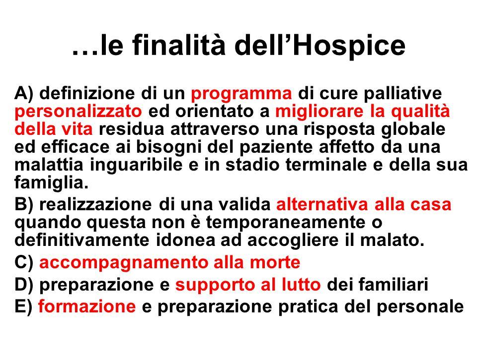 …le finalità dell'Hospice A) definizione di un programma di cure palliative personalizzato ed orientato a migliorare la qualità della vita residua att