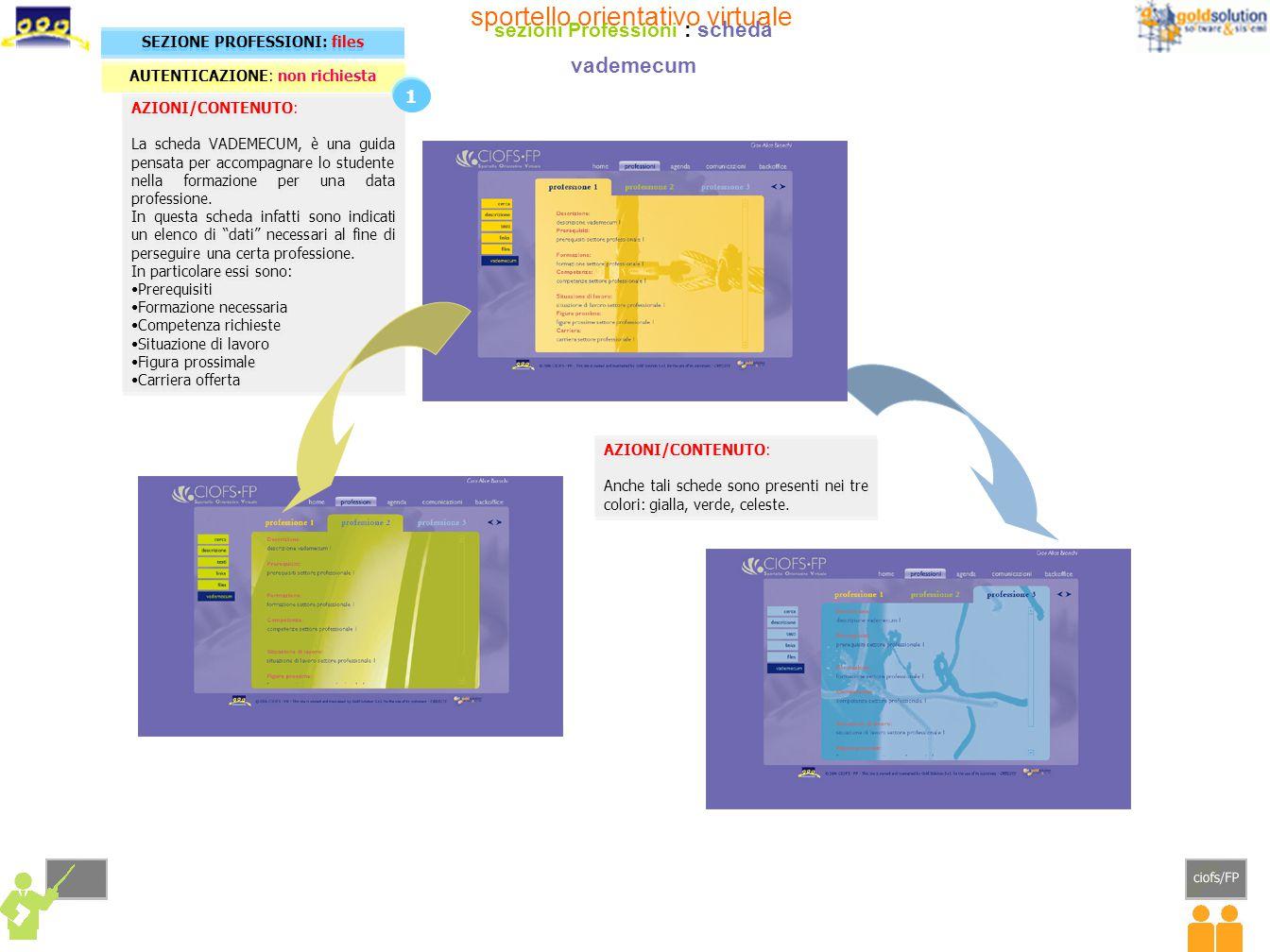 AZIONI/CONTENUTO: La scheda VADEMECUM, è una guida pensata per accompagnare lo studente nella formazione per una data professione. In questa scheda in