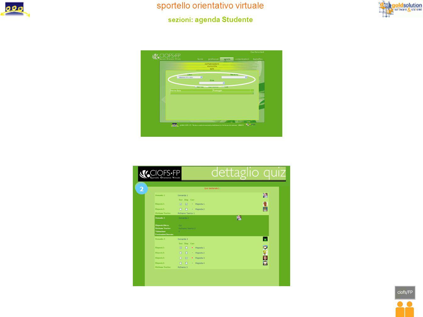 sportello orientativo virtuale sezioni: agenda Studente 2 2