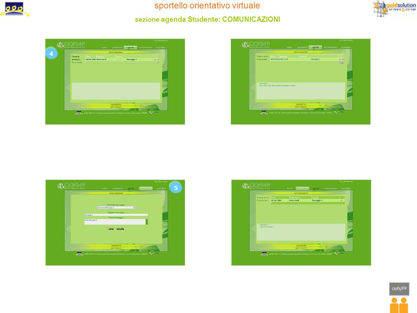 sportello orientativo virtuale sezione agenda Studente: COMUNICAZIONI 4 5