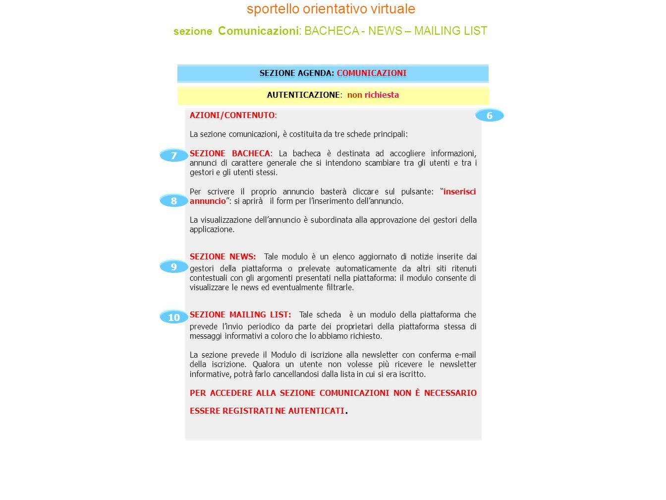AZIONI/CONTENUTO: La sezione comunicazioni, è costituita da tre schede principali: SEZIONE BACHECA: La bacheca è destinata ad accogliere informazioni,