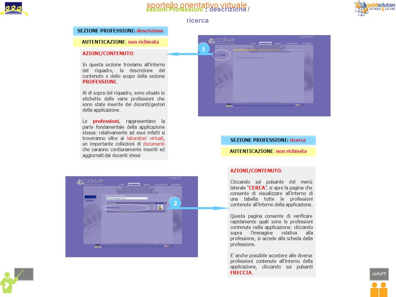 sportello orientativo virtuale sezioni Professioni : descrizione / ricerca AZIONI/CONTENUTO: In questa sezione troviamo all'interno del riquadro, la descrizione del contenuto e dello scopo della sezione PROFESSIONI.