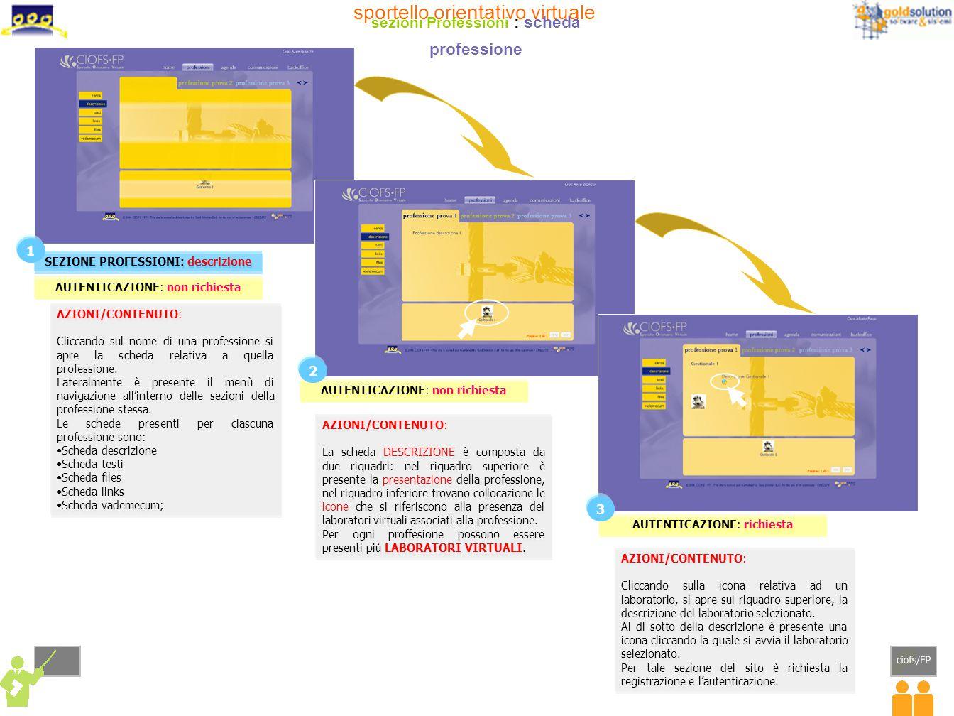 AZIONI/CONTENUTO: Le schede di descrizione delle professioni sono di tre colori: gialla, verde, celeste.