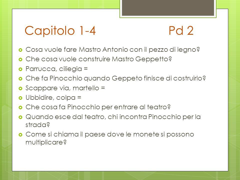 Capitolo 1-4Pd 2  Cosa vuole fare Mastro Antonio con il pezzo di legno?  Che cosa vuole construire Mastro Geppetto?  Parrucca, ciliegia =  Che fa