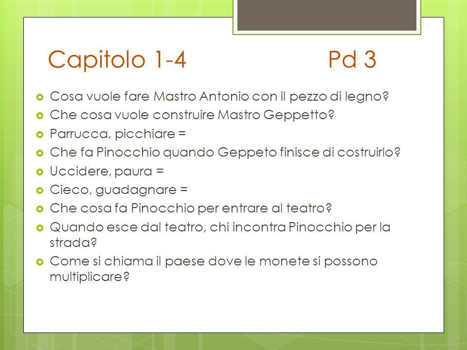 Capitolo 1-4Pd 3  Cosa vuole fare Mastro Antonio con il pezzo di legno?  Che cosa vuole construire Mastro Geppetto?  Parrucca, picchiare =  Che fa