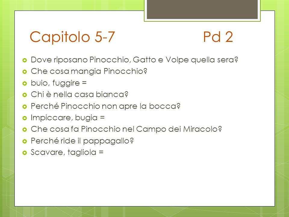 Capitolo 5-7Pd 2  Dove riposano Pinocchio, Gatto e Volpe quella sera?  Che cosa mangia Pinocchio?  buio, fuggire =  Chi è nella casa bianca?  Per