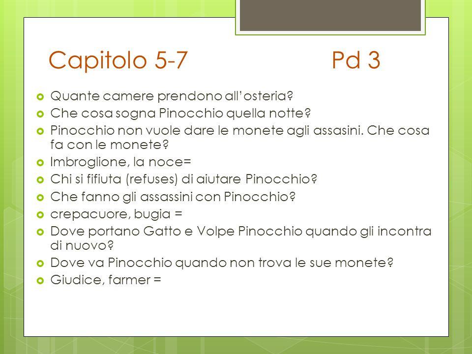 Capitolo 5-7Pd 3  Quante camere prendono all'osteria?  Che cosa sogna Pinocchio quella notte?  Pinocchio non vuole dare le monete agli assasini. Ch
